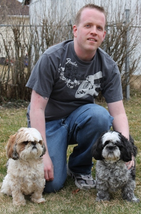 Dan with dogs cropped